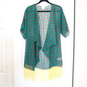 Lularoe Monroe Green Yellow Fringed Kimono Duster